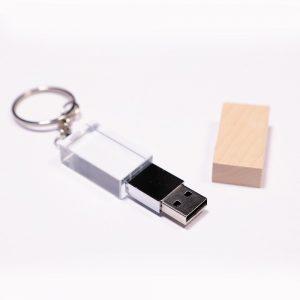 Clé USB cristal bois écologique